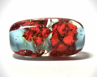 Handmade lampwork glass focal bead-- Coral and silver