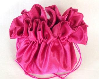 Satin Bridal Purse/Drawstring Fuchsia  Design Your Own/Match Your Wedding Colors