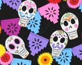 Fabric Fat Quarter- Alexander Henry Puebla Day of the Dead Skull 100% Cotton