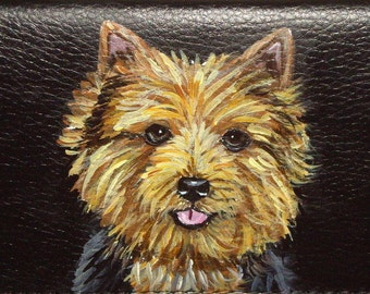 Norwich Terrier Dog Custom Painted Women's Leather Wallet