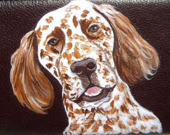English Setter Dog Custom Painted Ladies Leather Wallet