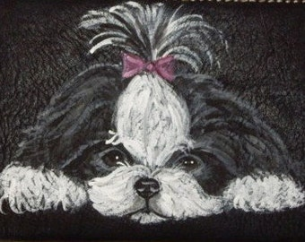 Shih Tzu Dog Custom Hand Painted Ladies Leather Wallet