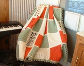 5' x 7' New, Heirloom-Quality SAMPLER AFGHAN in Ivory, Coral, and Green