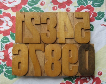 Antique Letterpress Wood Type Printers Block Number Set 1 through 0