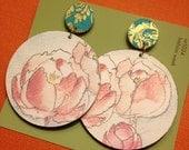 Watercolor peony paper earrings