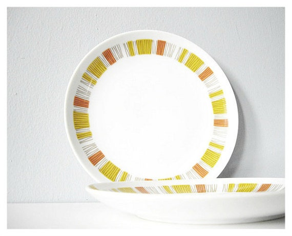 Plates vintage dessert plate mid century modern Mikasa - yellow orange brown and white