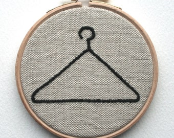 Hoop Art Wire Coat Hanger Embroidered Illustration Wall Plaque