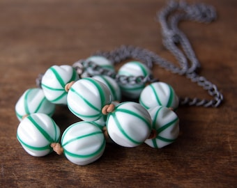 Delicata Necklace - hand knotted necklace - vintage green and white striped Lucite bead necklace - bohemian jewelry - boho chic
