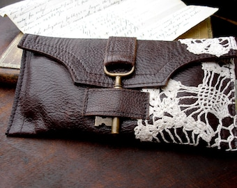 Boho Brown Leather Checkbook Credit Card Wallet Wristlet w/ Brass Antique Key & Crochet Lace - MADE TO ORDER