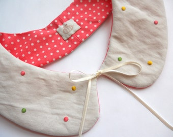 Ice Cream Polka Hand Embroidered Reversible Peter Pan Collar
