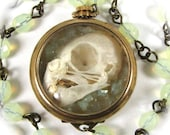 Steampunk Skull Necklace OSSUARY RELIC with Pearl and JADEITE-  Taxidermy Jewelry - by Nouveau Motley Exclusive