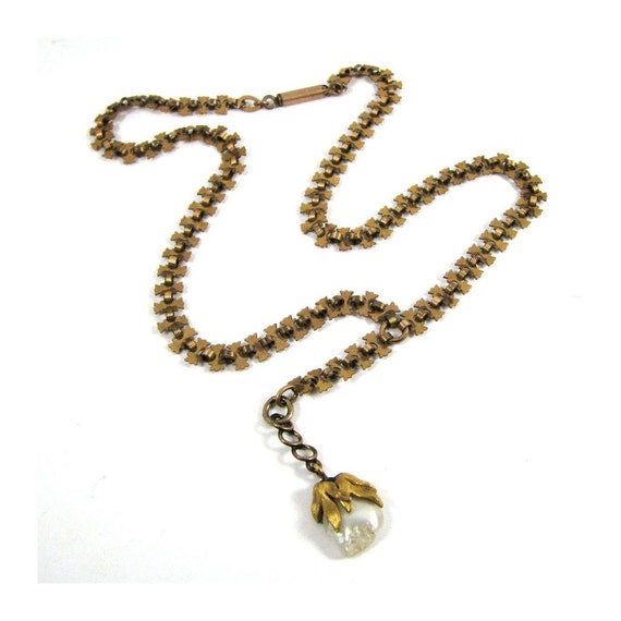 Victorian Book Chain Necklace A STUNNING and RARE Etruscan Revival Rose and Yellow Gold Fill with Baroque Pearl Circa 1880