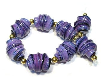 Handmade Glass  Lampwork Beads, Rose Whirled Beads