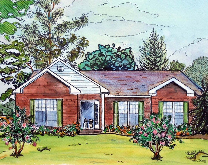 "Custom Wedding Gift, Portrait of newlywed's home, 11"" x 14"" Watercolor Custom House Portrait with lots of Pizzazz, Personalized, Artist, art"
