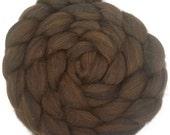 Natural Merino Silk 75/25 Wool Roving - 4 oz. Brown and Black - Spinning Fiber