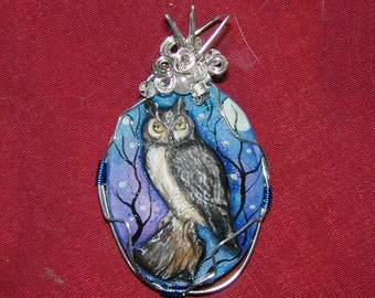 Great Horned Owl Hand Painted Pendant