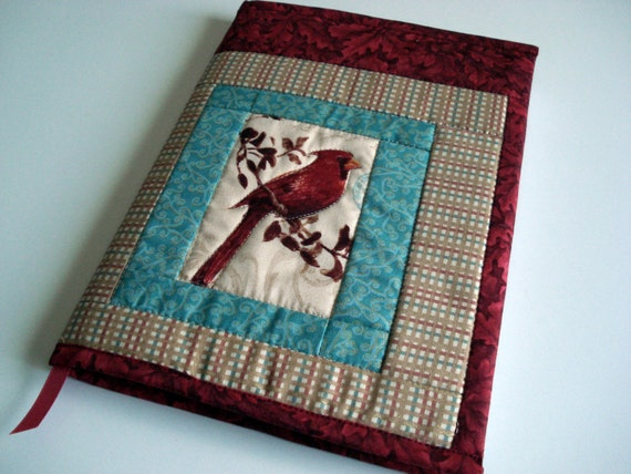 Quilted Journal Cover - Spring Garden, Red Bird