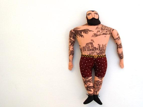 Big Tattoo Man doll Sepia