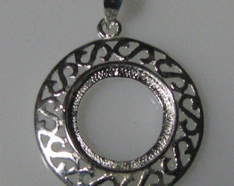 Silver Plated Brass Bezel Pendant Cabochon Setting - Round Filigree Design (Qty 3)  Sale 50 % off