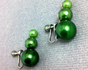Vintage Graduated Ombre Green Pearl Earrings