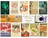 VINTAGE POSTERS digital collage sheet Retro 1930s WPA art, litho graphic design Mid-Century New Deal Americana advertising ephemera Download
