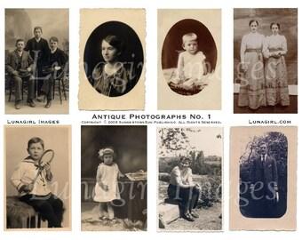 ANTIQUE PHOTOS digital collage sheet DOWNLOAD vintage images, Victorian Edwardian children men women, sepia ephemera altered art supplies