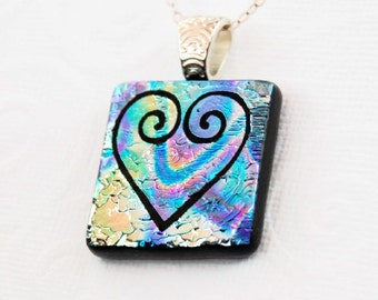 Fused Glass Pendant, Dichroic Glass, Pendant, Heart Swirl Pendant, Etched Glass