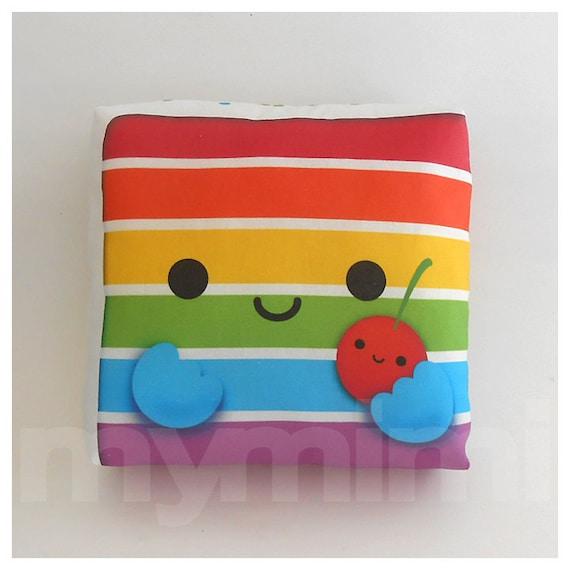 "Rainbow Cake - Decorative Pillow - Throw Pillow - Kawaii Pillow - Home Decor - Room Decor - Dorm Decor - Novelty - Childrens Toys - 7 x 7"""