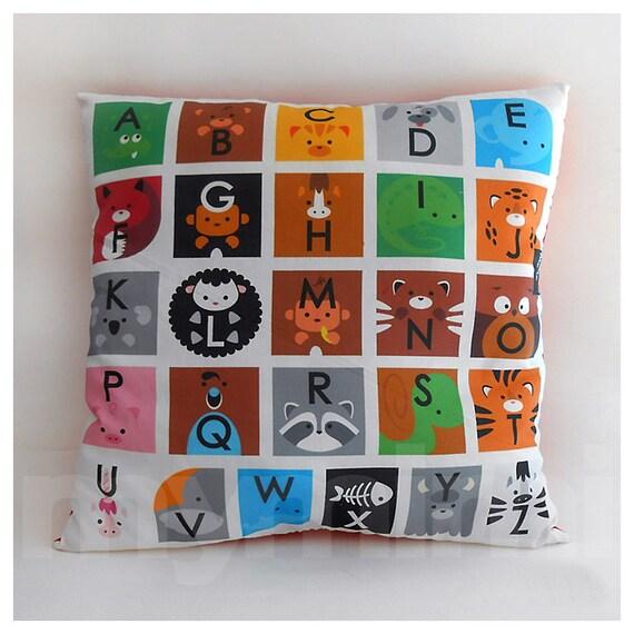 "Alphabet Nursery Decor, Alphabet Letters, ABC Animals, Alphabet Pillow, ABC Decor, Educational Pillow, Decorative Pillow, 16 x 16"""