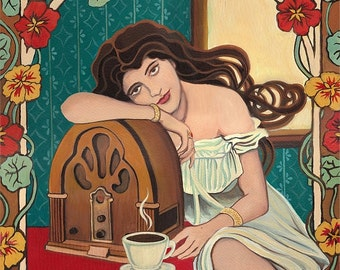 Morning Ritual 8x10 Fine Art Print Art Nouveau Retro Radio & Coffee Goddess Art