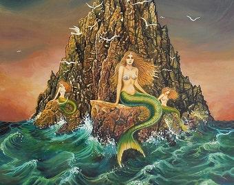 The Mermaids 8x10 Fine Art Print Mermaid Mythology Art Nouveau Ocean Goddess Art