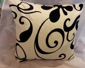 One cushion cover cream and black flower print 16 inch pillow