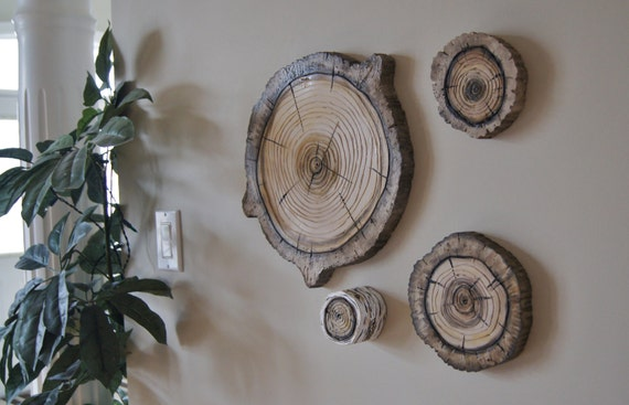 Tree Stump Wall Decor : Woodland wall art d natural wood stump hanging plaques