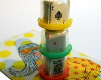 3pcs TINY PLAYING CARDS 1960s Vintage Full Deck Inside Capsules