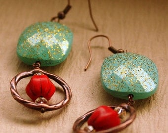Glitter Earrings acrylic copper czech glass red and turquoise