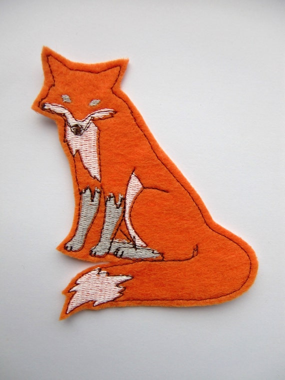 Iron On Patch Fox Applique in Orange - patches for jackets - cute patches - back patches - felt animal - embroidery