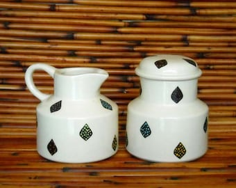White Earthenware Ceramic Hand Made Family Sugar Bowl and Creamer Set