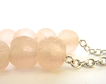 Glass Necklace, Silver Necklace, Pink Recycled Glass, Beaded Jewelry, Soft Pink Glass, Eco Friendly, Peach Pink