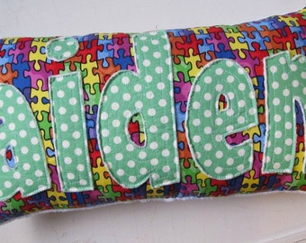 Personalized Puzzle Piece Name Pillow handmade for Autism Awareness
