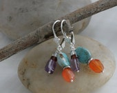 Turquoise AMETHYST Carnelian Sterling Hill Tribe Silver Dangle Earrings