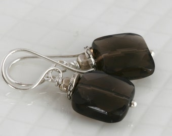 Smoky Quartz Drop Hill Tribe and Sterling Silver Earrings