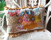 RESERVED. Part Payment. Boho Creek Chic Pillow, Silk Patchwork, Beaded Buttons, Bohemian, Gypsy, Home Decor, Cushion