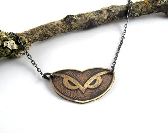 Owl Necklace in Sterling Silver and Etched Brass