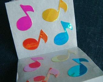 Music Notes - Vintage 90s Sandylion Stickers - 4 panels