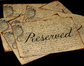 6 5x7 RESERVED SIGNS For Your Special Event Wedding Party Shower French Rustic Vintage