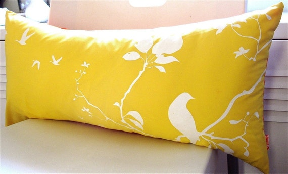 Reserved for Shari James  Yellow Flying By Rectangle Pillow Cover