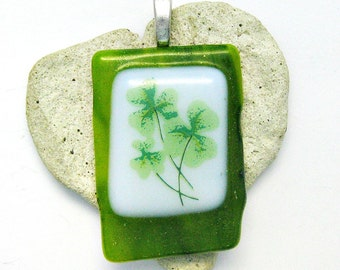 Shamrocks Pendant - Fused Glass Pendant