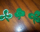 Crocheted Saint Patrick's Day Shamrock Appliques, Embellishments, Earrings, Magnets or Pins - St Pattys Day