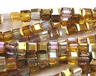 Designer Glass Amber Glow Faceted Crystal Cube Beads 4mm 25 pcs