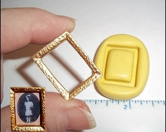 Dollhouse PICTURE FRAME Flexible Mold Mould Use Resin Paper Clay Sculpey Fimo Polymer Premo Wax Chocolate  (M178)